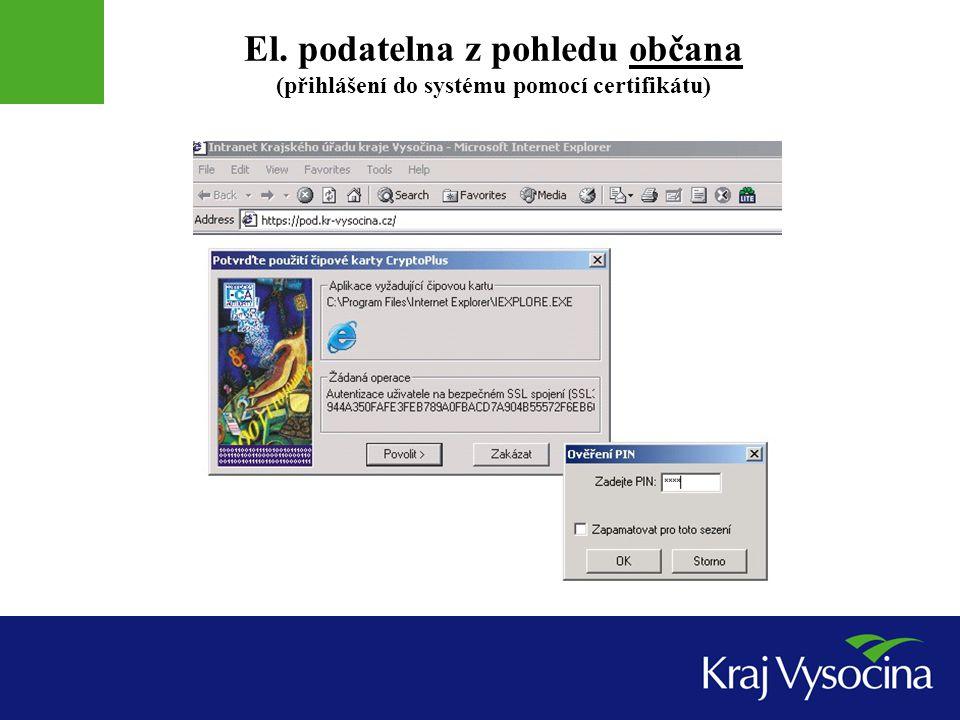 El. podatelna z pohledu občana (přihlášení do systému pomocí certifikátu)