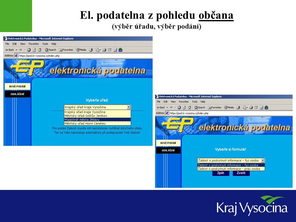 El. podatelna z pohledu občana (výběr úřadu, výběr podání)