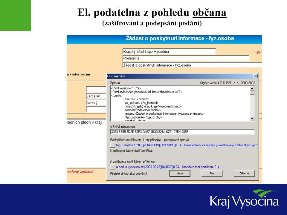 El. podatelna z pohledu občana (zašifrování a podepsání podání)