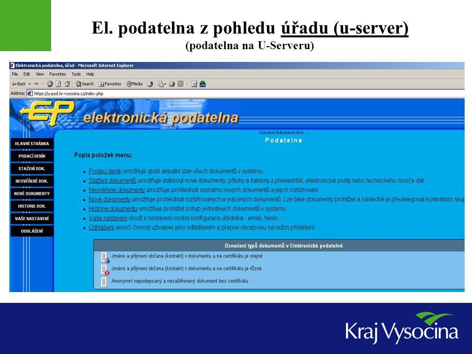 El. podatelna z pohledu úřadu (u-server) (podatelna na U-Serveru)