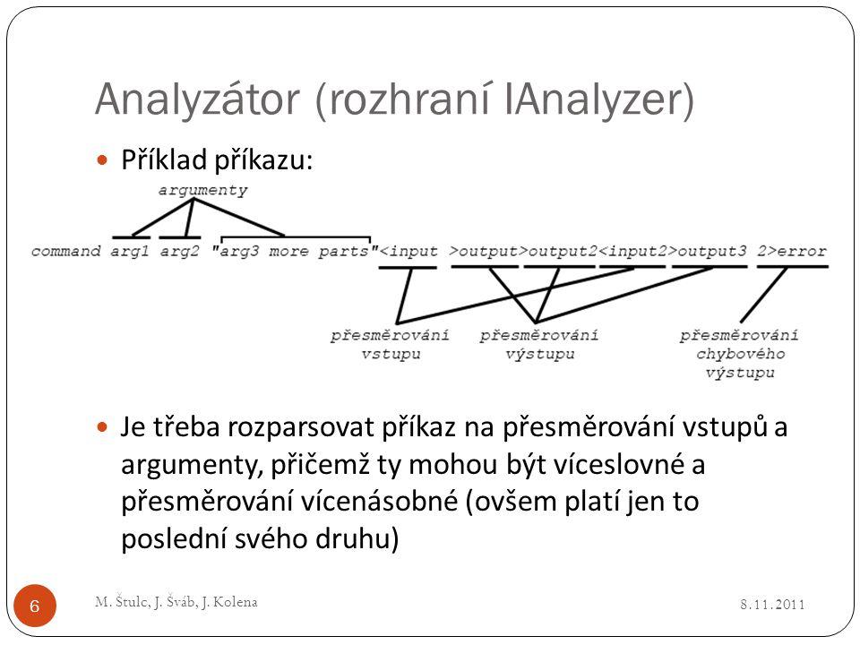 Analyzátor (rozhraní IAnalyzer) 8.11.2011 M. Štulc, J. Šváb, J. Kolena 6 Příklad příkazu: Je třeba rozparsovat příkaz na přesměrování vstupů a argumen