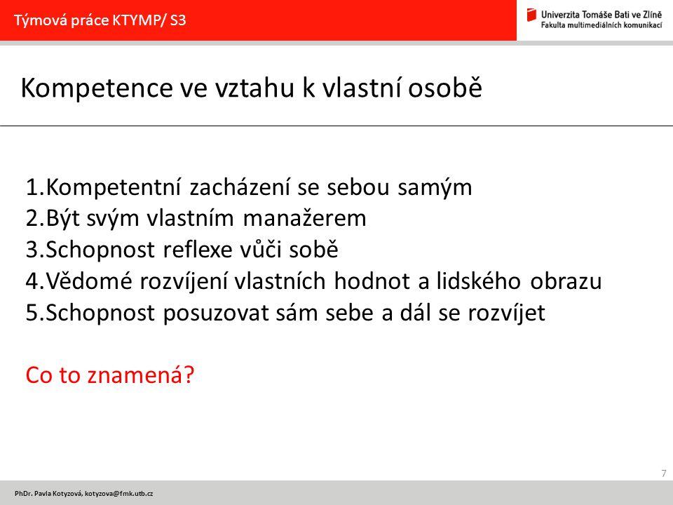 8 PhDr.Pavla Kotyzová, kotyzova@fmk.utb.cz Kompetence v oblasti metod Týmová práce KTYMP/ S3 1.