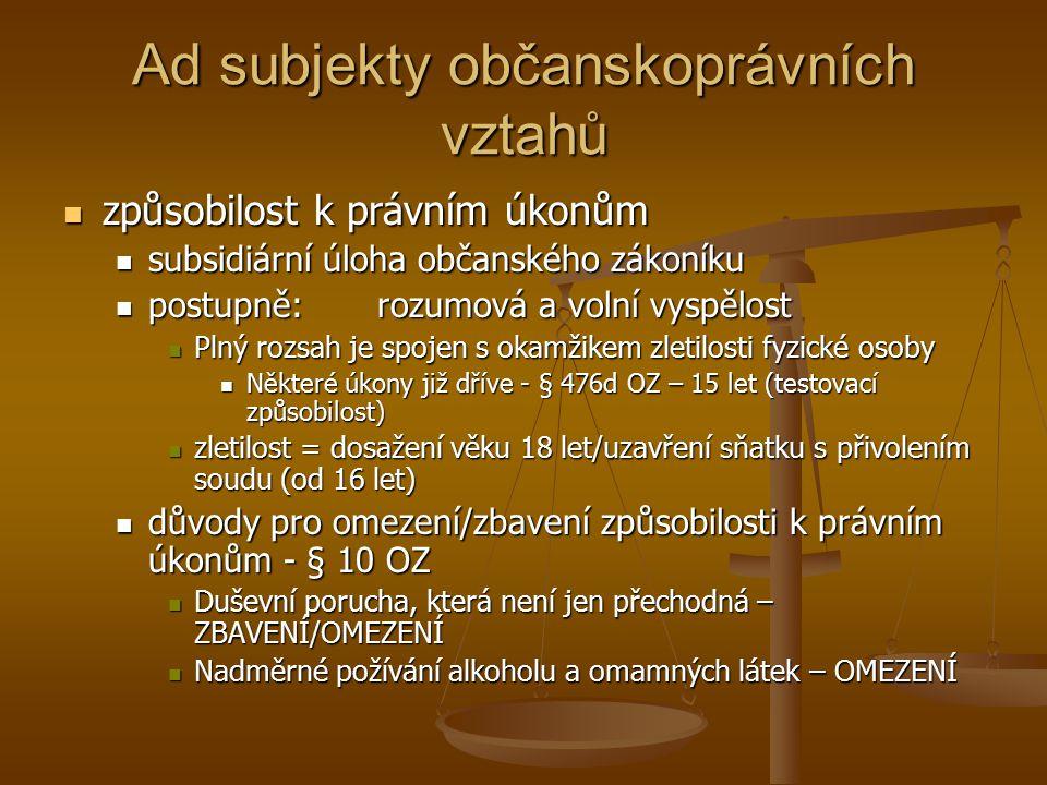 Ad subjekty občanskoprávních vztahů způsobilost k právním úkonům způsobilost k právním úkonům subsidiární úloha občanského zákoníku subsidiární úloha