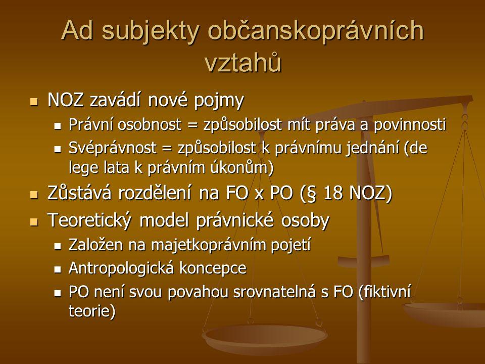 Ad subjekty občanskoprávních vztahů NOZ zavádí nové pojmy NOZ zavádí nové pojmy Právní osobnost = způsobilost mít práva a povinnosti Právní osobnost =