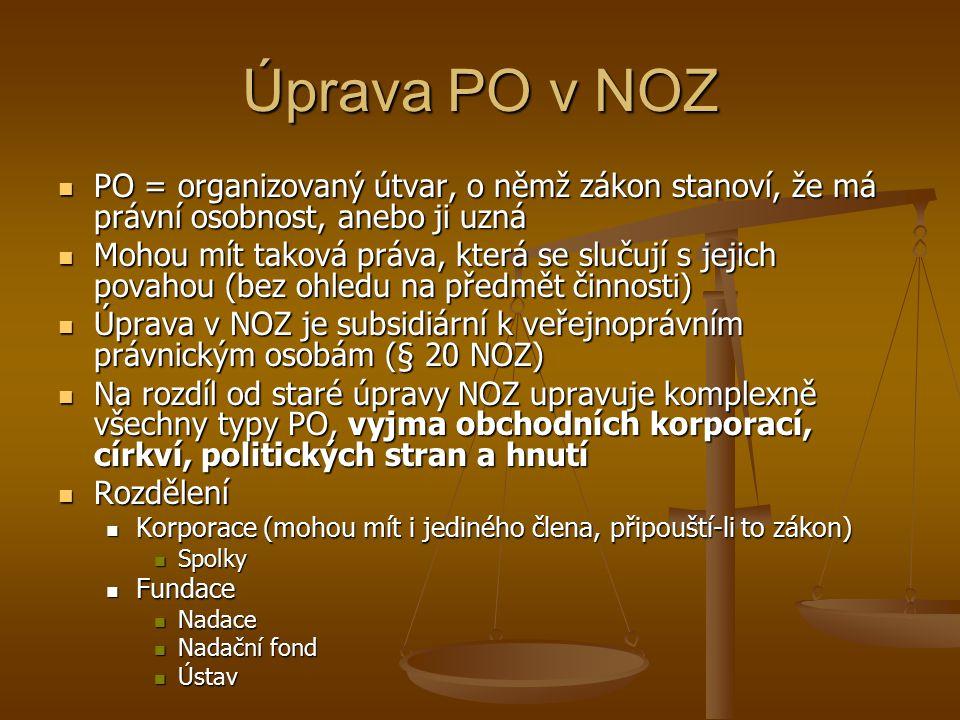Úprava PO v NOZ PO = organizovaný útvar, o němž zákon stanoví, že má právní osobnost, anebo ji uzná PO = organizovaný útvar, o němž zákon stanoví, že