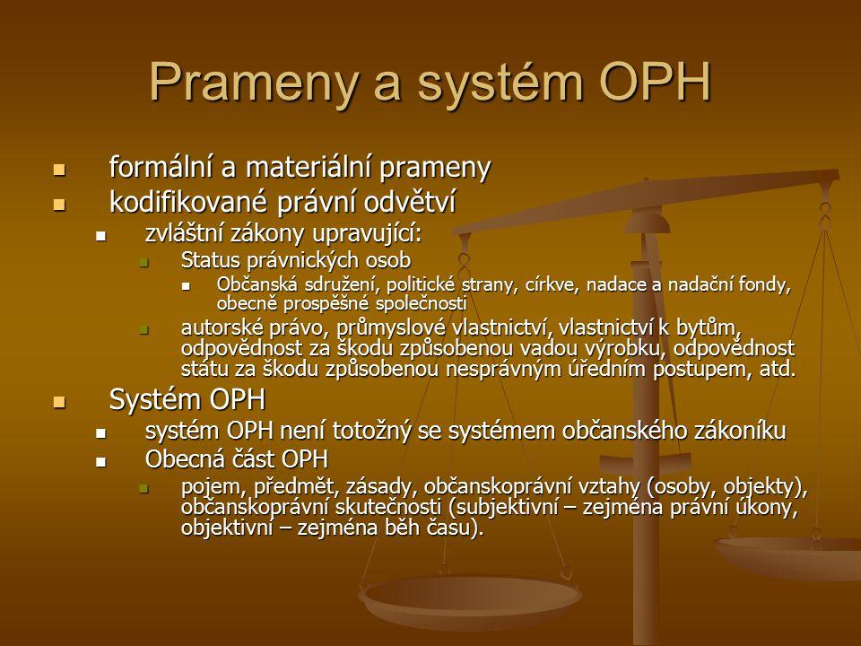 Prameny a systém OPH formální a materiální prameny formální a materiální prameny kodifikované právní odvětví kodifikované právní odvětví zvláštní záko