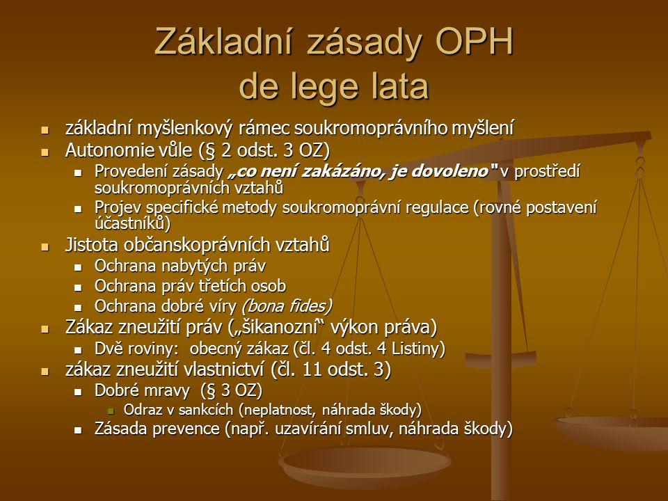Základní zásady OPH de lege lata základní myšlenkový rámec soukromoprávního myšlení základní myšlenkový rámec soukromoprávního myšlení Autonomie vůle