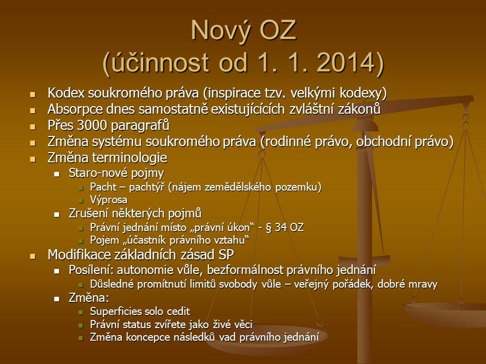 Nový OZ (účinnost od 1. 1. 2014) Kodex soukromého práva (inspirace tzv. velkými kodexy) Kodex soukromého práva (inspirace tzv. velkými kodexy) Absorpc