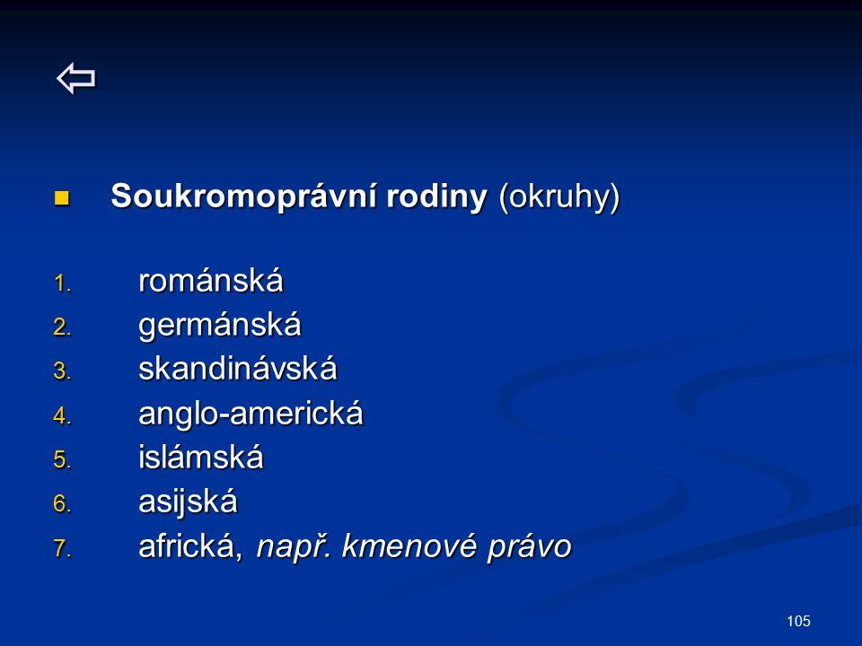 105  Soukromoprávní rodiny (okruhy) Soukromoprávní rodiny (okruhy) 1. románská 2. germánská 3. skandinávská 4. anglo-americká 5. islámská 6. asijská