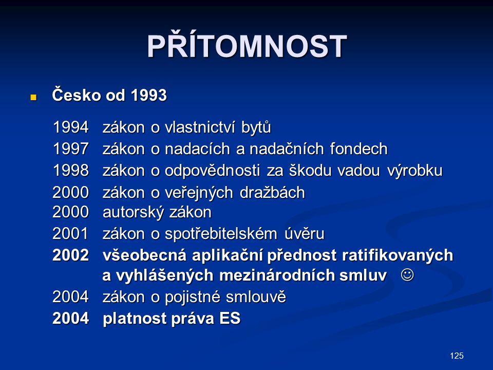 125 PŘÍTOMNOST Česko od 1993 Česko od 1993 1994 zákon o vlastnictví bytů 1994 zákon o vlastnictví bytů 1997 zákon o nadacích a nadačních fondech 1997