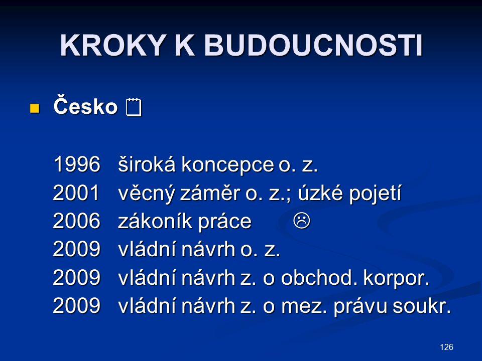 126 KROKY K BUDOUCNOSTI Česko  Česko  1996 široká koncepce o. z. 1996 široká koncepce o. z. 2001 věcný záměr o. z.; úzké pojetí 2001 věcný záměr o.