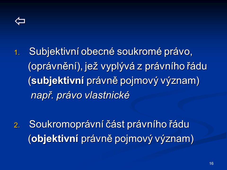 16  1. Subjektivní obecné soukromé právo, (oprávnění), jež vyplývá z právního řádu (oprávnění), jež vyplývá z právního řádu (subjektivní právně pojmo