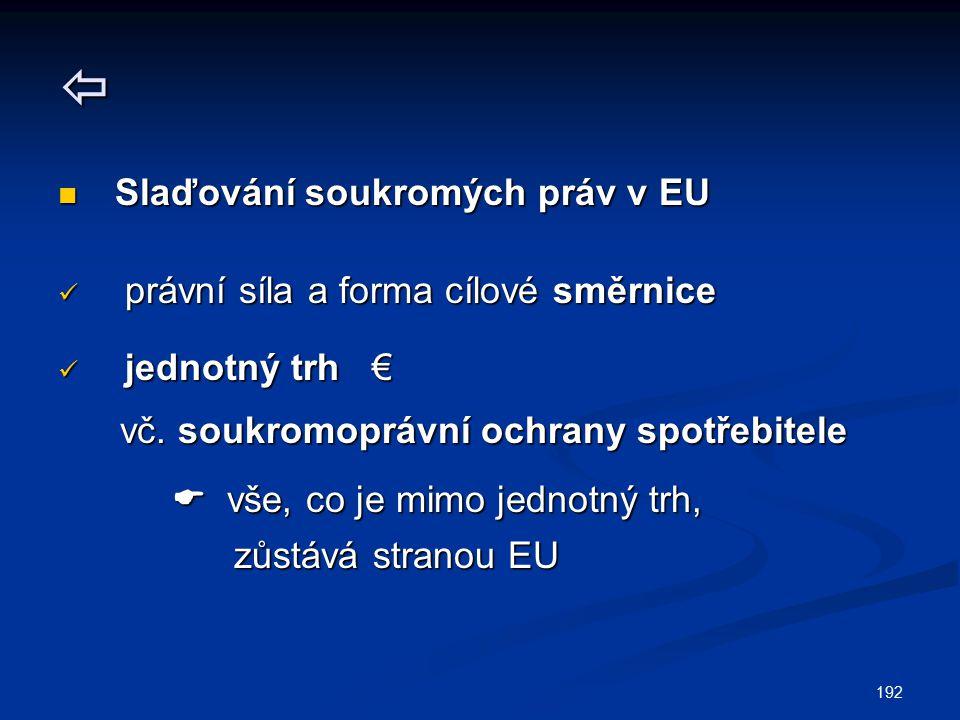 192  Slaďování soukromých práv v EU Slaďování soukromých práv v EU právní síla a forma cílové směrnice právní síla a forma cílové směrnice jednotný t