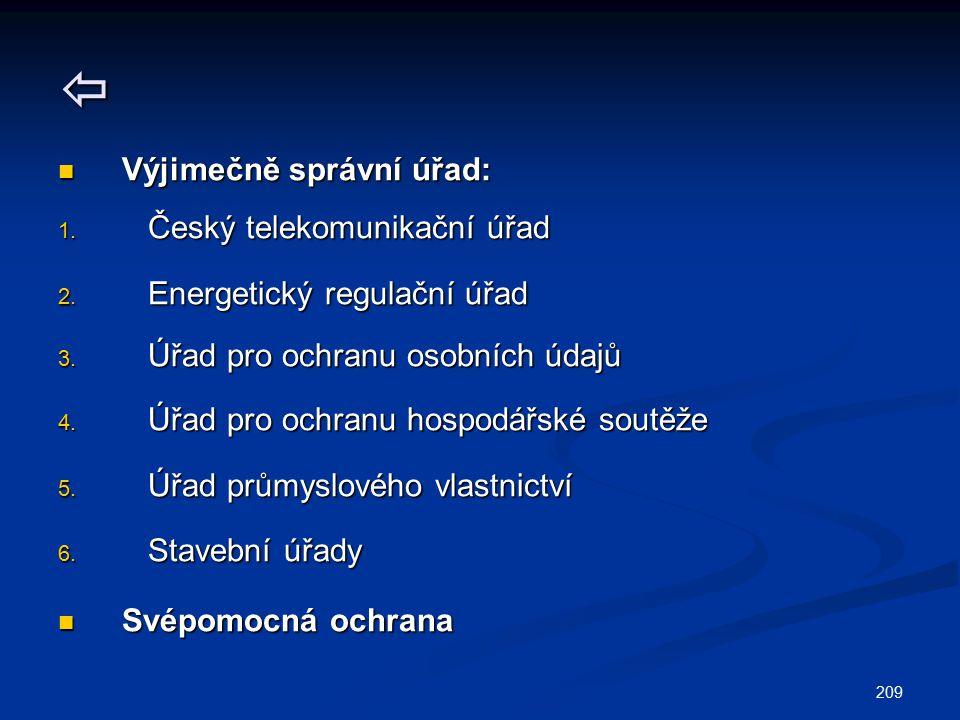 209  Výjimečně správní úřad: Výjimečně správní úřad: 1. Český telekomunikační úřad 2. Energetický regulační úřad 3. Úřad pro ochranu osobních údajů 4