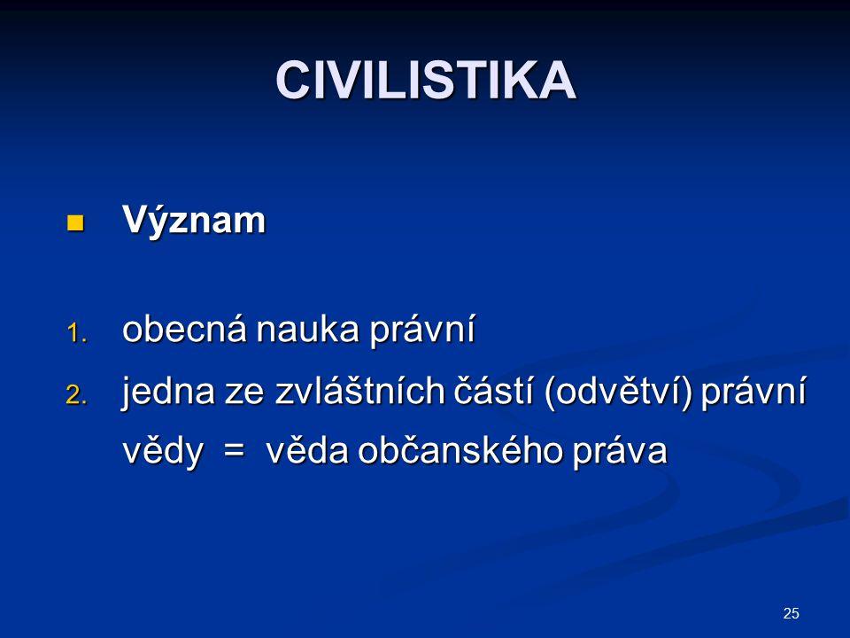 25 CIVILISTIKA Význam Význam 1. obecná nauka právní 2. jedna ze zvláštních částí (odvětví) právní vědy = věda občanského práva