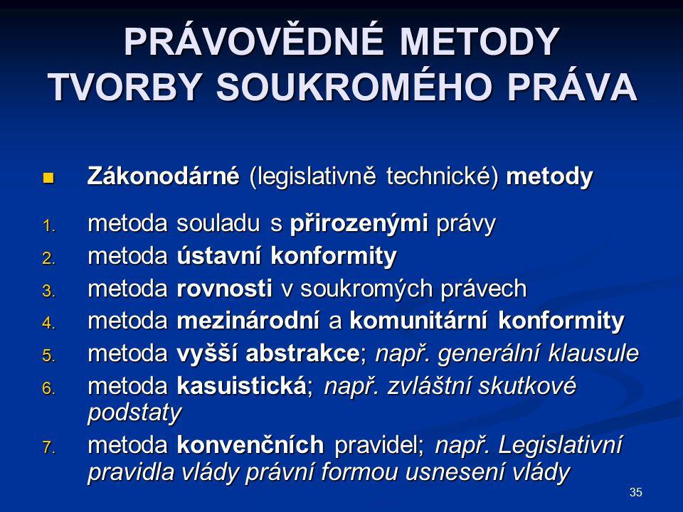 35 PRÁVOVĚDNÉ METODY TVORBY SOUKROMÉHO PRÁVA Zákonodárné (legislativně technické) metody Zákonodárné (legislativně technické) metody 1. metoda souladu