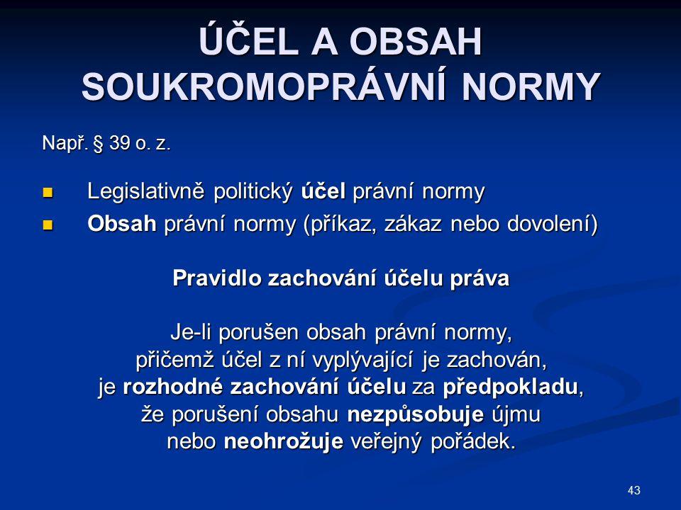 43 ÚČEL A OBSAH SOUKROMOPRÁVNÍ NORMY Např. § 39 o. z. Legislativně politický účel právní normy Legislativně politický účel právní normy Obsah právní n