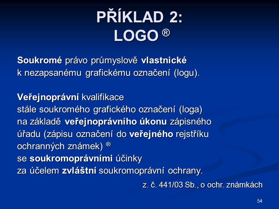 54 PŘÍKLAD 2: LOGO ® Soukromé právo průmyslově vlastnické k nezapsanému grafickému označení (logu). Veřejnoprávní kvalifikace stále soukromého grafick