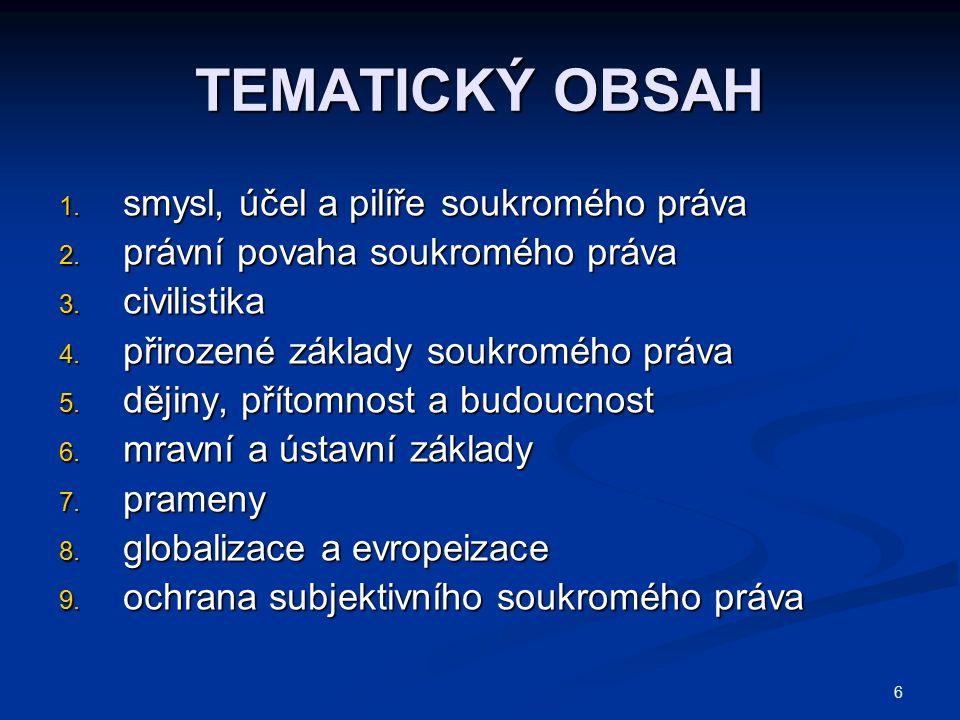 6 TEMATICKÝ OBSAH 1. smysl, účel a pilíře soukromého práva 2. právní povaha soukromého práva 3. civilistika 4. přirozené základy soukromého práva 5. d