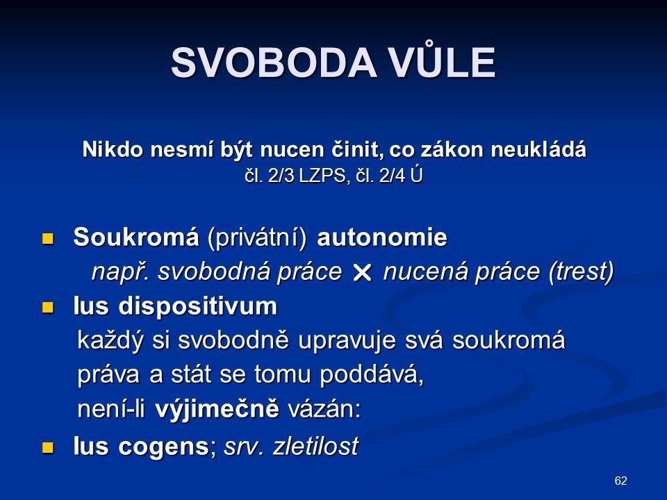 62 SVOBODA VŮLE Nikdo nesmí být nucen činit, co zákon neukládá čl. 2/3 LZPS, čl. 2/4 Ú Soukromá (privátní) autonomie Soukromá (privátní) autonomie nap