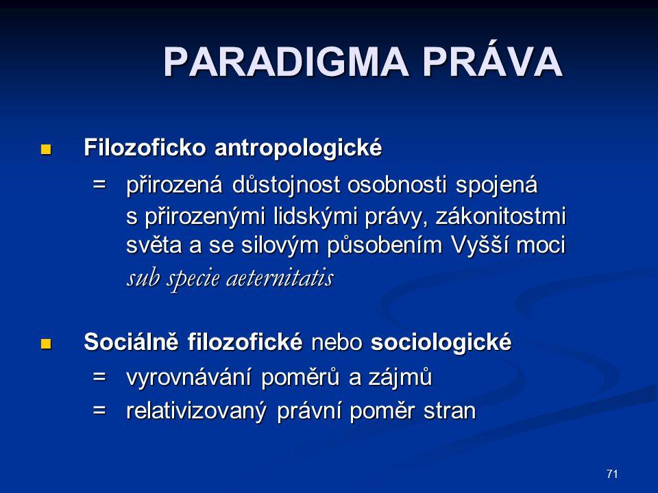 71 PARADIGMA PRÁVA Filozoficko antropologické Filozoficko antropologické = přirozená důstojnost osobnosti spojená = přirozená důstojnost osobnosti spo