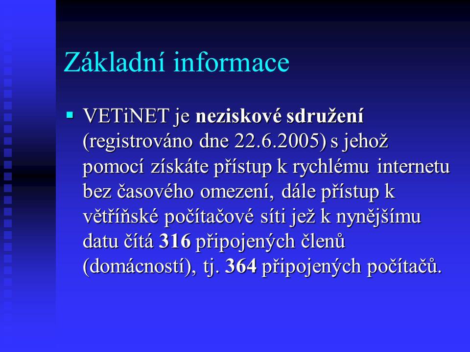 Základní informace  VETiNET je neziskové sdružení (registrováno dne 22.6.2005) s jehož pomocí získáte přístup k rychlému internetu bez časového omeze