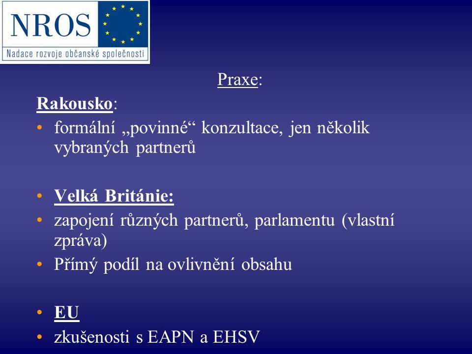 """Praxe: Rakousko: formální """"povinné konzultace, jen několik vybraných partnerů Velká Británie: zapojení různých partnerů, parlamentu (vlastní zpráva) Přímý podíl na ovlivnění obsahu EU zkušenosti s EAPN a EHSV"""
