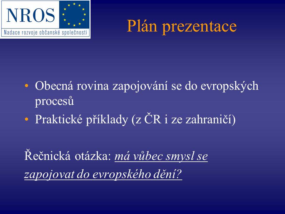 Plán prezentace Obecná rovina zapojování se do evropských procesů Praktické příklady (z ČR i ze zahraničí) Řečnická otázka: má vůbec smysl se zapojova