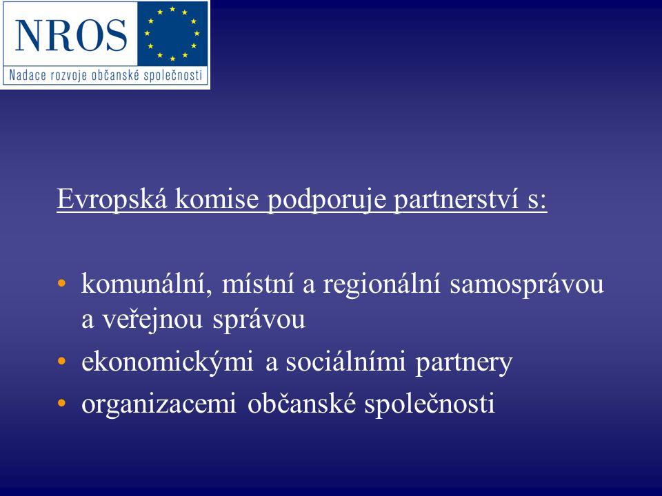 Evropská komise podporuje partnerství s: komunální, místní a regionální samosprávou a veřejnou správou ekonomickými a sociálními partnery organizacemi občanské společnosti