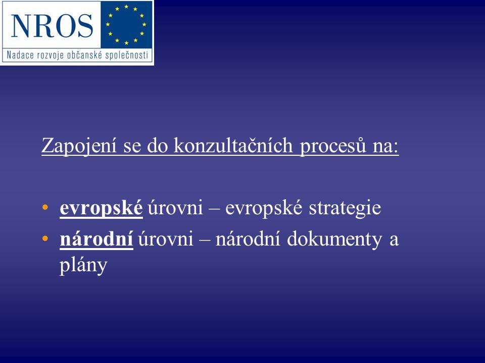 Evropská úroveň: Výbor regionů YourVoice in Europe: http://europa.eu.int/yourvoice/ http://europa.eu.int/yourvoice/ Přímé konzultace – minimální standardy