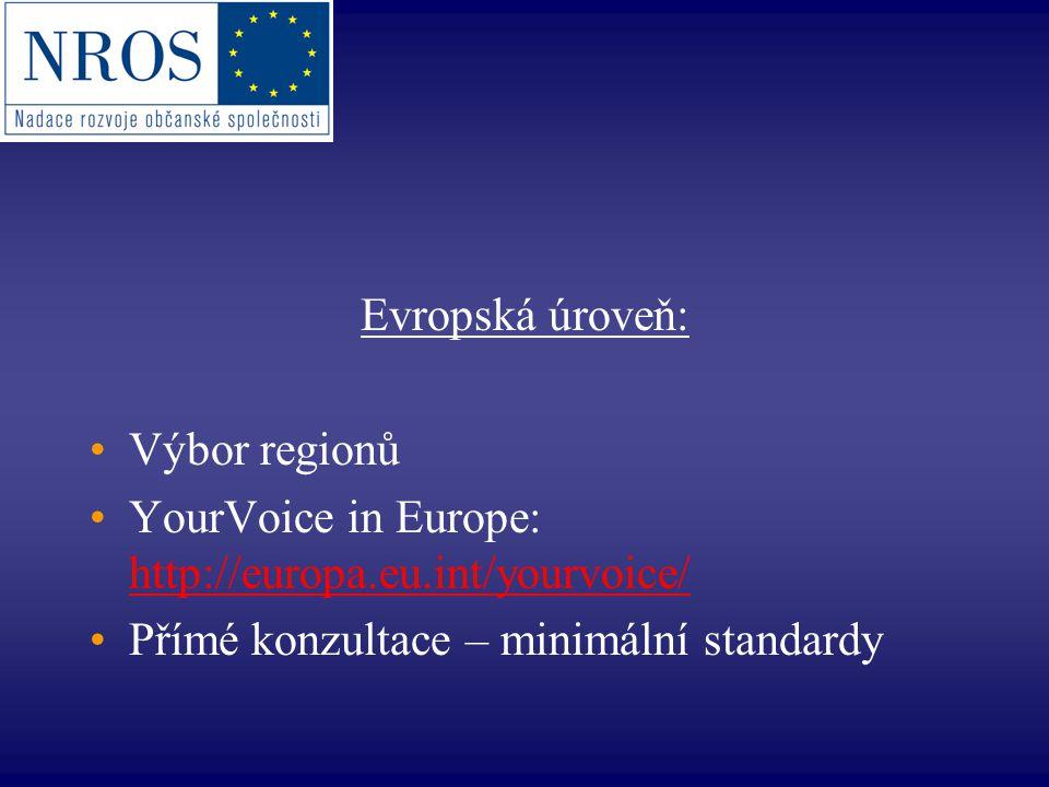 Evropská úroveň: Výbor regionů YourVoice in Europe: http://europa.eu.int/yourvoice/ http://europa.eu.int/yourvoice/ Přímé konzultace – minimální stand