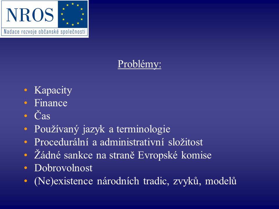 Problémy: Kapacity Finance Čas Používaný jazyk a terminologie Procedurální a administrativní složitost Žádné sankce na straně Evropské komise Dobrovol