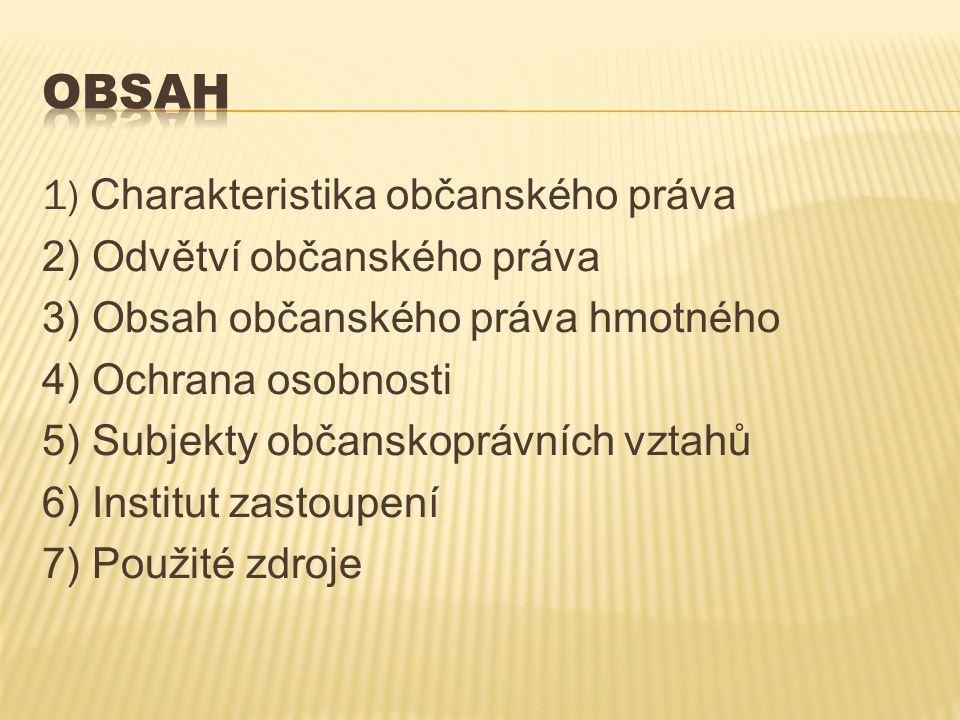 1) Charakteristika občanského práva 2) Odvětví občanského práva 3) Obsah občanského práva hmotného 4) Ochrana osobnosti 5) Subjekty občanskoprávních v