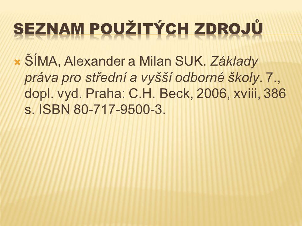  ŠÍMA, Alexander a Milan SUK. Základy práva pro střední a vyšší odborné školy. 7., dopl. vyd. Praha: C.H. Beck, 2006, xviii, 386 s. ISBN 80-717-9500-