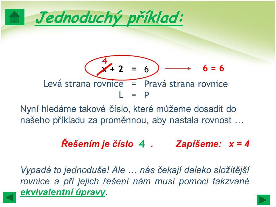 6 Pravá strana rovnice P x + 2 Levá strana rovnice L ====== 6 = 6 4 4 Nyní hledáme takové číslo, které můžeme dosadit do našeho příkladu za proměnnou, aby nastala rovnost … Řešením je číslo.Zapíšeme: x = 4 Vypadá to jednoduše.