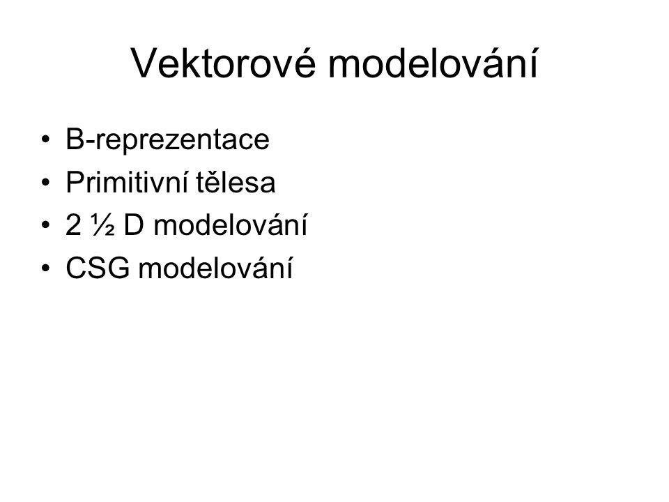 Vektorové modelování B-reprezentace Primitivní tělesa 2 ½ D modelování CSG modelování