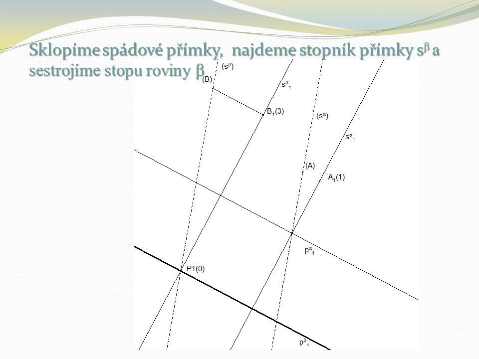 Sklopíme spádové přímky, najdeme stopník přímky s β a sestrojíme stopu roviny β
