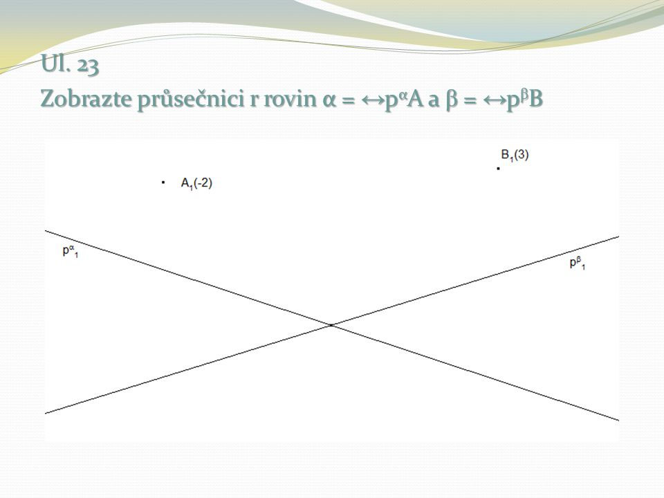 V rovině α sestrojíme hlavní přímku o kótě 2 a najdeme průsečík H s hlavní přímkou o kótě 2 roviny β