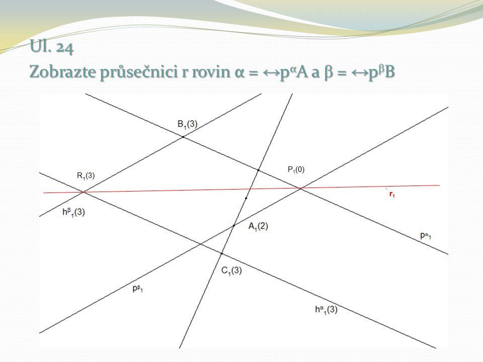 Ul. 25 Zobrazte průsečnici r rovin α = ↔ p α A a β = ↔ p β B