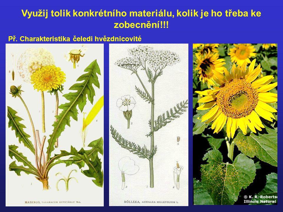 Při vyvozování nových pojmů výkladem je třeba se opřít o odpovídající konkrétní biologické představy!!!
