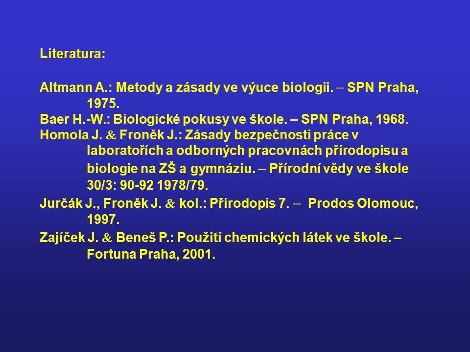 Literatura: Altmann A.: Metody a zásady ve výuce biologii. – SPN Praha, 1975. Baer H.-W.: Biologické pokusy ve škole. – SPN Praha, 1968. Homola J.  F