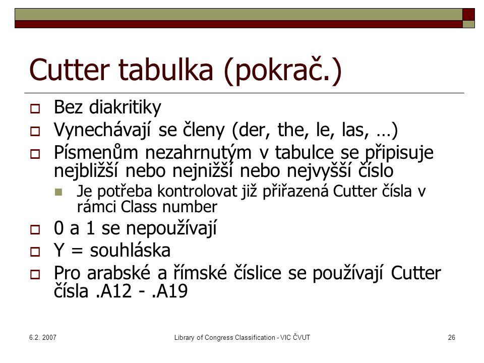 6.2. 2007Library of Congress Classification - VIC ČVUT26 Cutter tabulka (pokrač.)  Bez diakritiky  Vynechávají se členy (der, the, le, las, …)  Pís