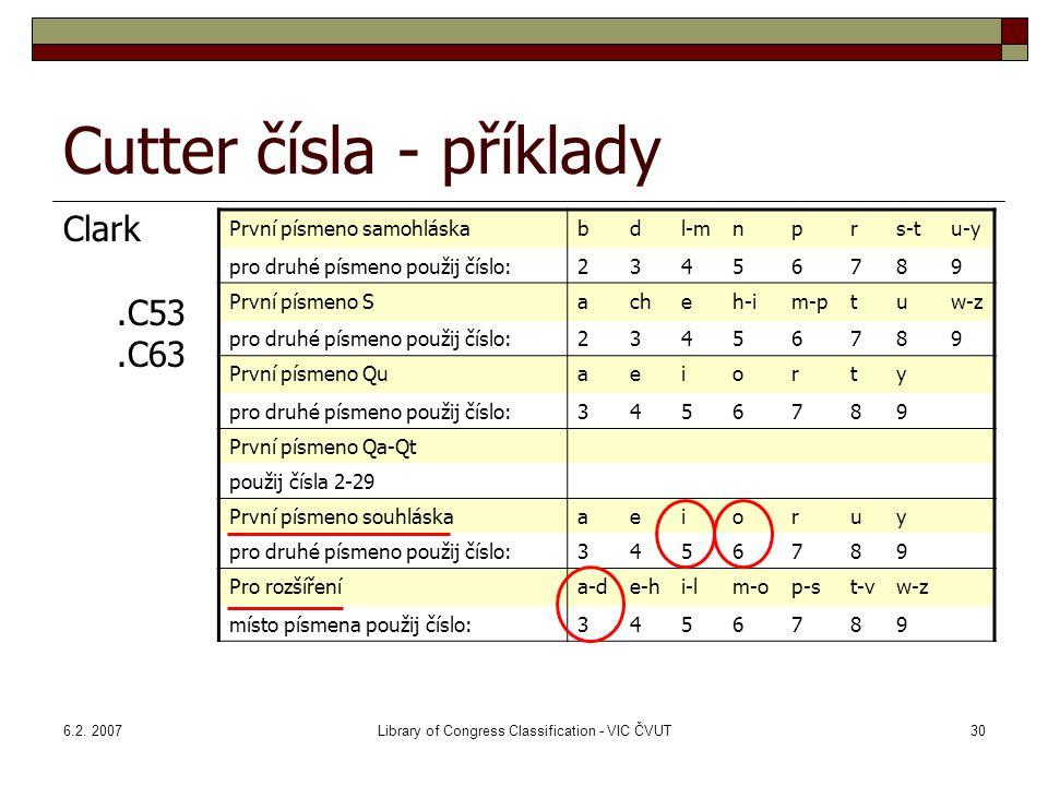 6.2. 2007Library of Congress Classification - VIC ČVUT30 Cutter čísla - příklady Clark.C53.C63 První písmeno samohláskabdl-mnprs-tu-y pro druhé písmen