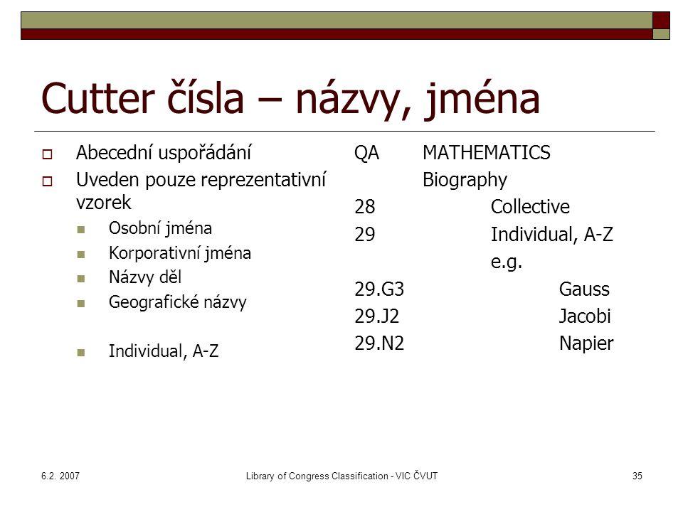 6.2. 2007Library of Congress Classification - VIC ČVUT35 Cutter čísla – názvy, jména  Abecední uspořádání  Uveden pouze reprezentativní vzorek Osobn