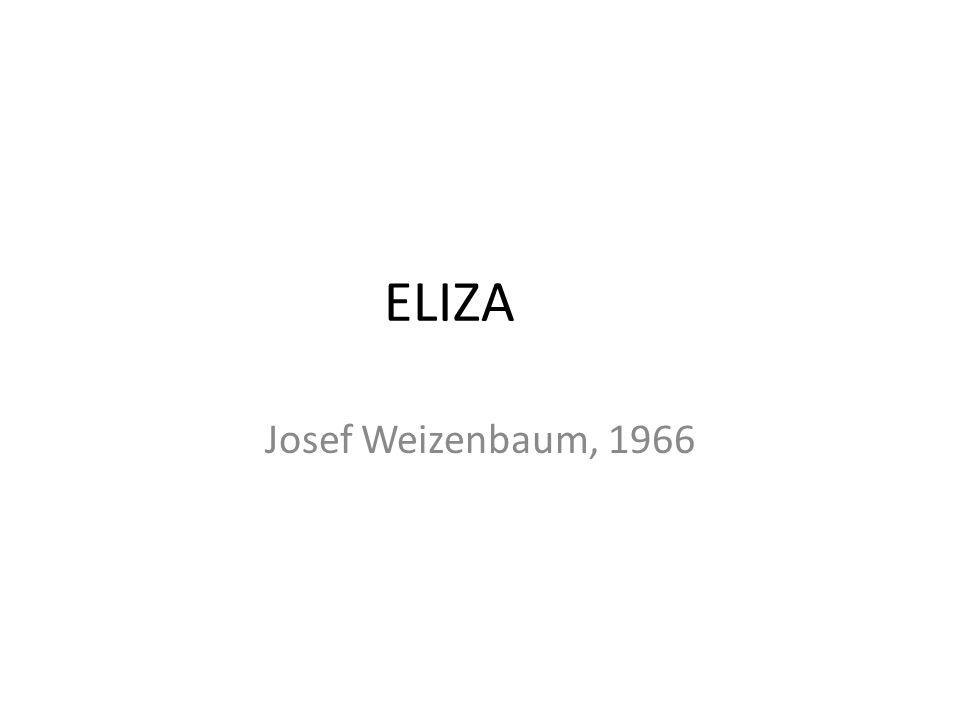 ELIZA Josef Weizenbaum, 1966