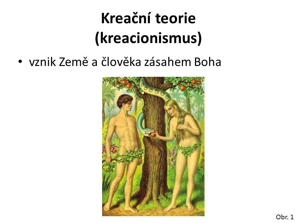Kreační teorie (kreacionismus) vznik Země a člověka zásahem Boha Obr. 1