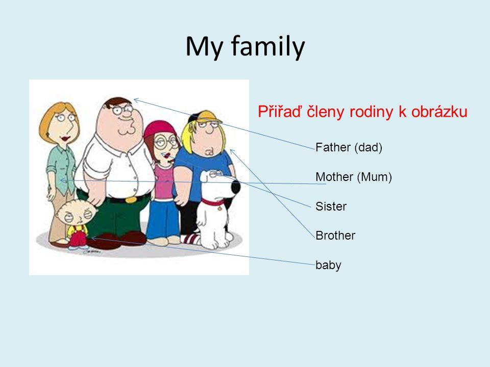 My family Přiřaď členy rodiny k obrázku Father (dad) Mother (Mum) Sister Brother baby