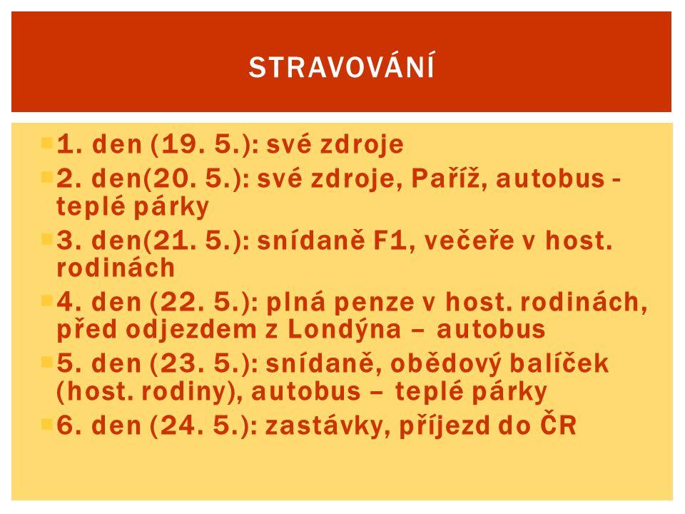  1. den (19. 5.): své zdroje  2. den(20. 5.): své zdroje, Paříž, autobus - teplé párky  3. den(21. 5.): snídaně F1, večeře v host. rodinách  4. de
