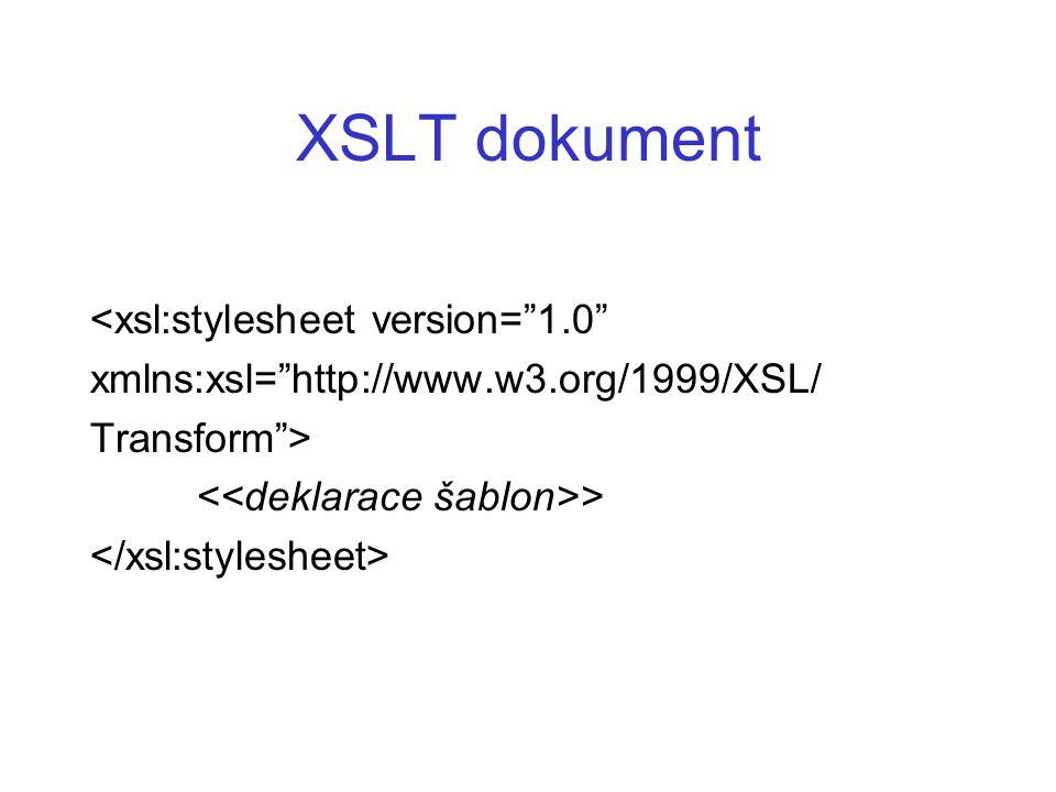 "XSLT dokument <xsl:stylesheet version=""1.0"" xmlns:xsl=""http://www.w3.org/1999/XSL/ Transform""> >"