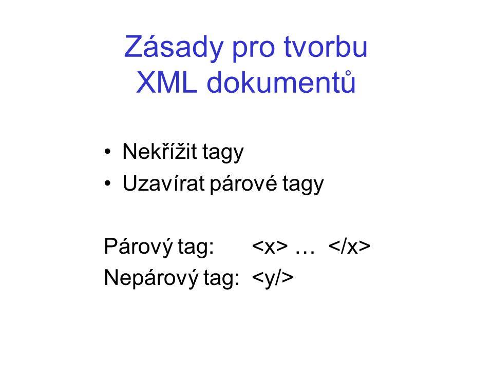 DTD Při dodržení syntaktických pravidel, může být obecný XML dokument vytvořen za použití libovolných elementů Vznikají tak nové značkovací jazyky, které jsou podmnožinami obecnějšího XML.